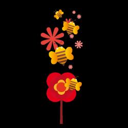 Sticker Fleurs et abeilles