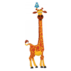Sticker Girafe oiseaux