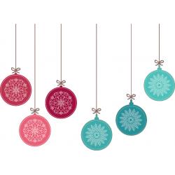 Boules de noël rose et turquoise