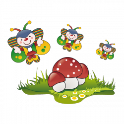 Sticker Papillons clowns et champignons