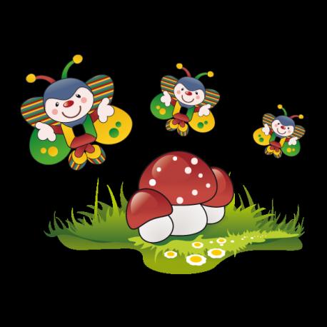 Papillons clowns et champignons