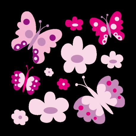 Papillons et fleurs pastels
