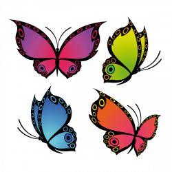 Sticker Papillons quatre couleurs
