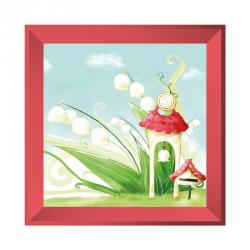 Sticker tableau campagne muguet rose