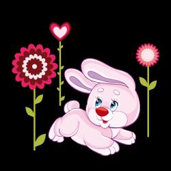 Sticker Petit lapin et fleurs