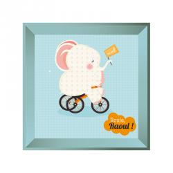 Sticker tableau éléphant à vélo bleu