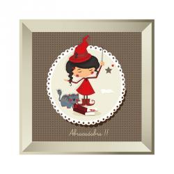 Sticker tableau petite sorcière gris