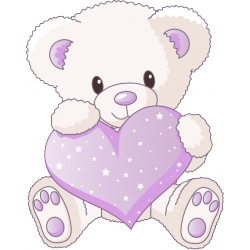 Sticker Ourson Coeur lilas