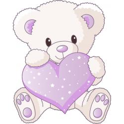 Sticker Ourson Coeur lilas