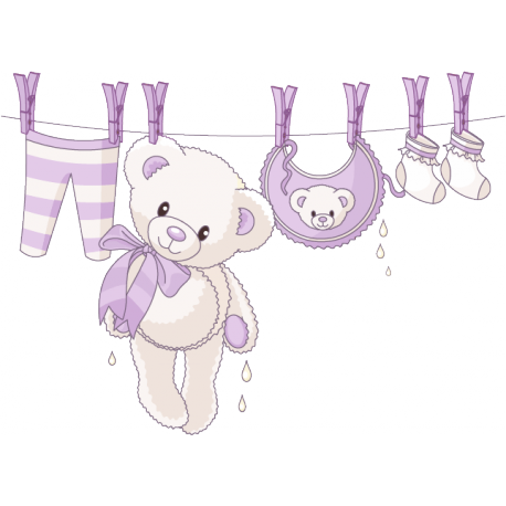 Sticker Ourson naissance Fille lilas
