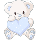 Sticker Ourson Coeur bleu