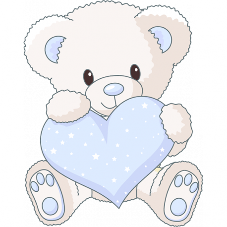 Sticker ourson coeur bleu for Stickers ourson chambre bebe