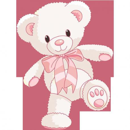 Sticker Ourson joyeux rose