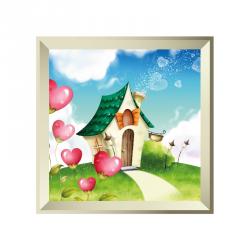Sticker tableau campagne maisonette coeur