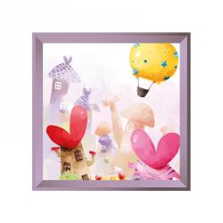 Sticker tableau campagne montgolfière lilas