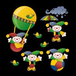 Sticker Pierrot dans les airs