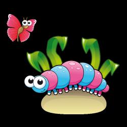 Sticker La Chenille et le papillon