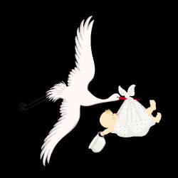 Sticker Bébé et la cigogne