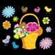 Panier de fleurs et ses oiseaux