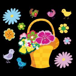 Sticker Panier de fleurs et ses oiseaux