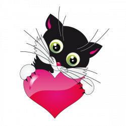 Sticker Chaton et coeur