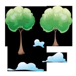 Sticker Arbres et nuages
