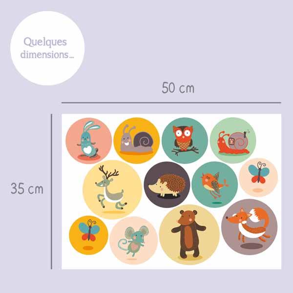 Planche de 12 stickers petits animaux